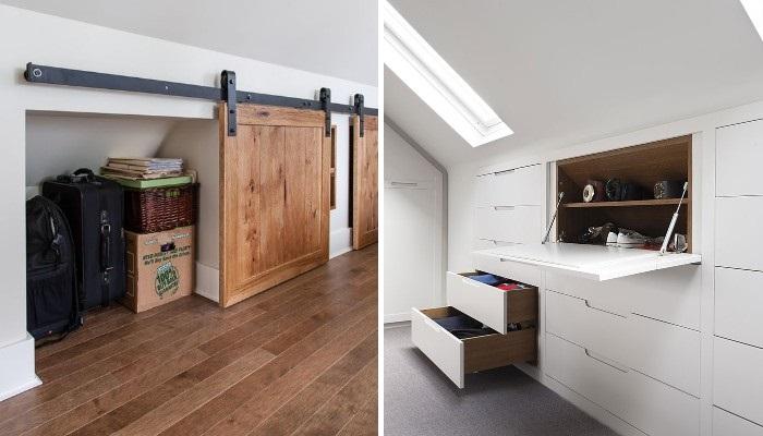 Декоративные дверцы или полноценные системы хранения помогут скрыть недостатки планировки и пристроить много вещей. | Фото: cpykami.ru/ optimise-home.com.