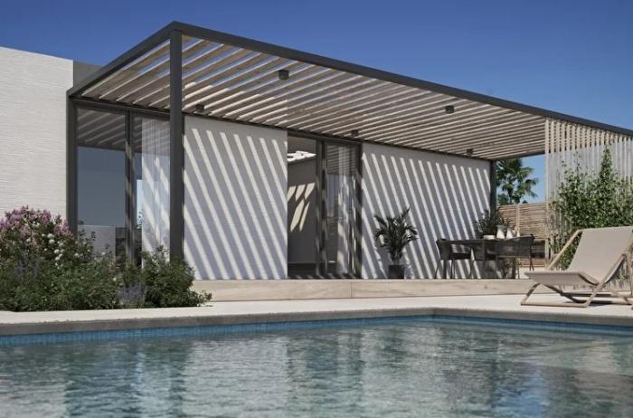 На заднем дворе каждого дома обустроят зону отдыха с бассейном и зоной барбекю(концепт модели дома The Mighty Cinco). | theguardian.com.
