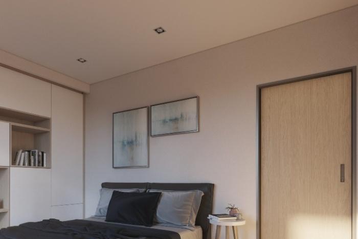 Дизайн-проект интерьера одной из спальных комнат дома базовой модели. | Фото: mightybuildings.com.