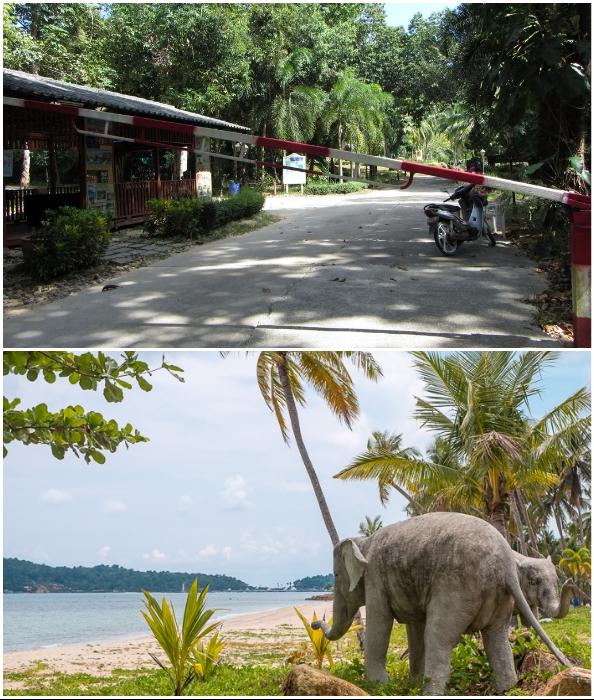Попасть на территорию курорта и пляж можно через пропускной пункт и за деньги (Grand Lagoona Koh Chang Resort, Таиланд).