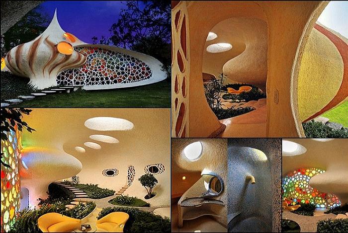 Оригинальное оформление дома в стиле биодизайна.