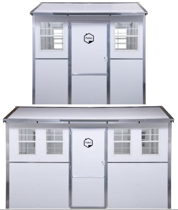 Модельный ряд одноименных сборно-разборных домиков для временного проживания от компании модели Pallet (2,95 и 9,3 кв. м).
