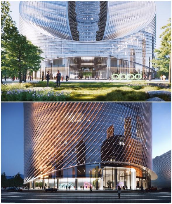 Первых 3 этажа небоскреба будут превращены в общественное пространство (концепт O-Tower, BIG).