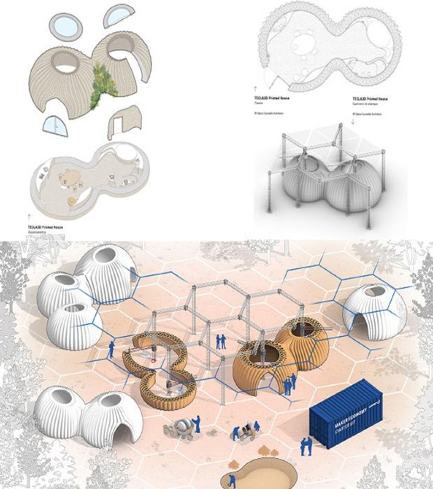 Такой процесс печати подразумевает строительство соединенных между собой домов на любой площадке (концепт). | Фото: corriereinnovazione.corriere.it.