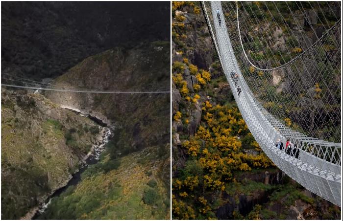 Если удастся преодолеть страх, тогда можно будет насладиться незабываемой красотой горного ландшафта (516 Arouca Bridge, Португалия).