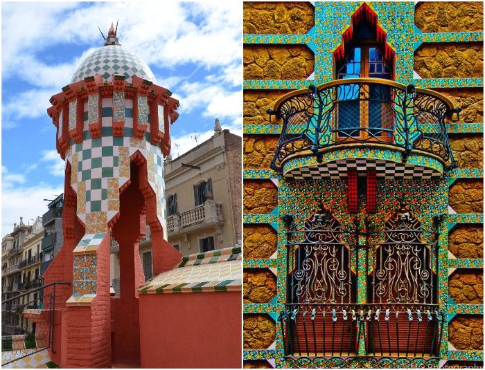 Непривычная красота здания завораживает шахматно-цветочным орнаментом, башнями, арками и коваными балкончиками (Casa Vicens, Барселона).