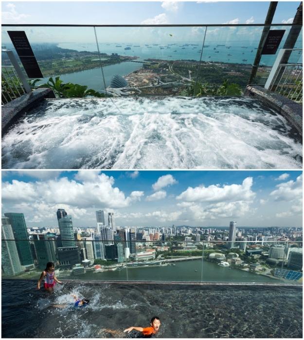 Детская зона и джакузи огорожены высокими прозрачными бортиками (Marina Bay Sands, Сингапур).