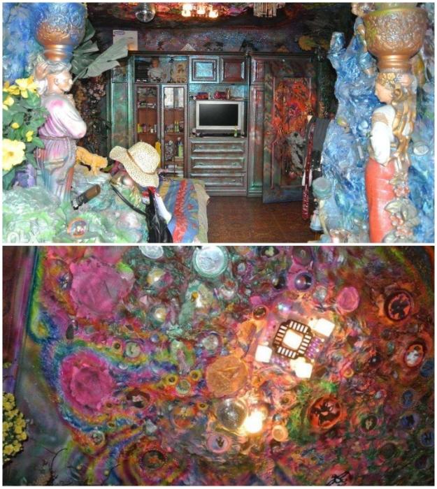 В такой спальне с нависающим пестрым потолком вряд ли удастся уснуть, но художница видела очищение квартиры именно так (Киев, Троещина).