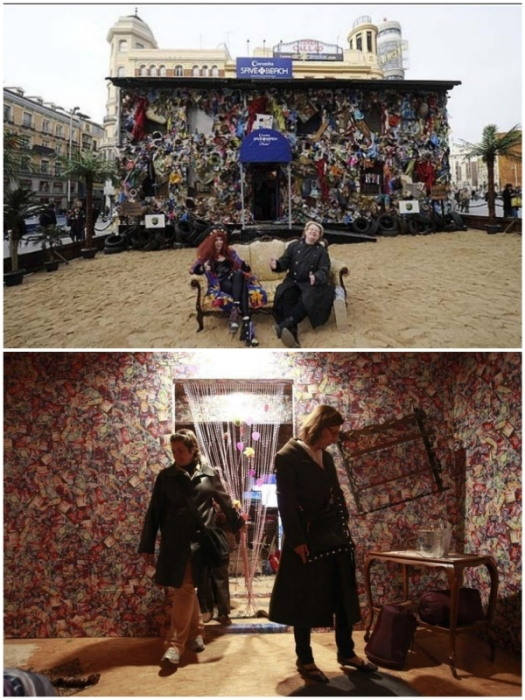 Нашлось немало желающих пожить в отеле из мусора, чтобы поддержать акцию экологов (Save the World Hotel, Мадрид).