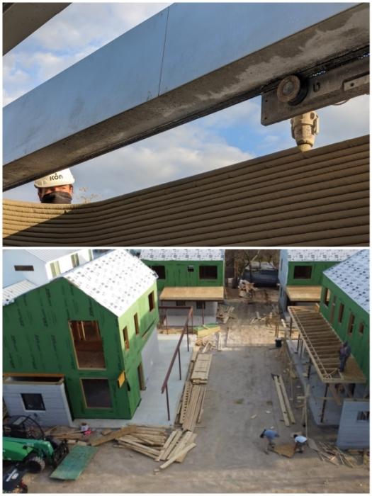 При строительстве домов на East 17th Street использовались сразу две технологии – 3D-печатная и традиционная (Остин, Техас).