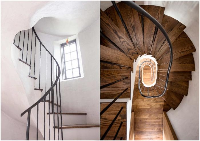 Винтовая лестница является центральном элементом интерьера башни.