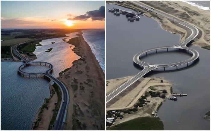 Понадобился всего год, чтобы соединить трассу между двумя департаментами (Laguna Garzon Bridge, Уругвай).