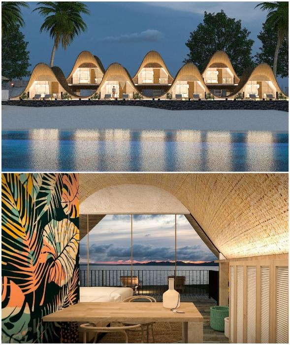 Отельный комплекс будет расположен так, чтобы из окон открывался живописный прибрежный пейзаж (концепт Bihing Tahik Resort). | Фото: mymodernmet.com.