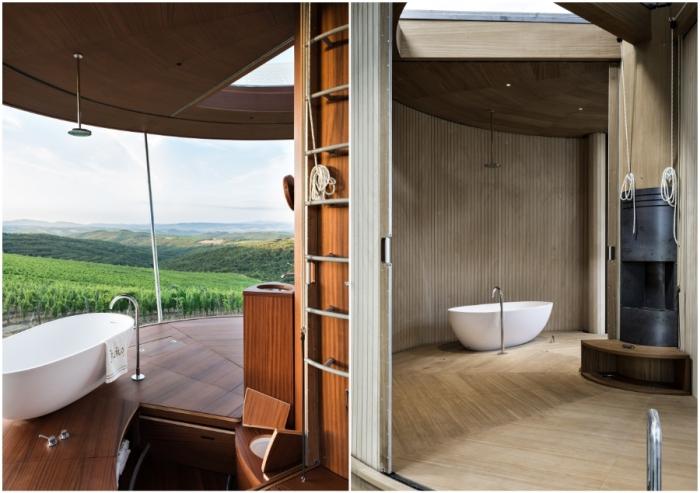 Ванну можно принимать и на открытом воздухе, стоит лишь привести в действие механизм, сворачивающий стены и перегородки (концепт Casa Ojala').