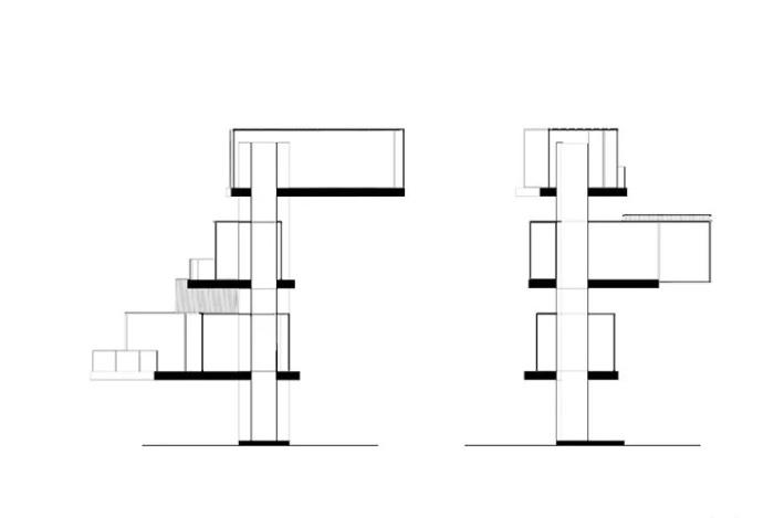 Комнаты-модули закреплены вокруг циркуляционного канала винтообразно, чтобы обеспечить панорамный вид (концепт компании Adriano Design). | Фото: impresedilinews.it.