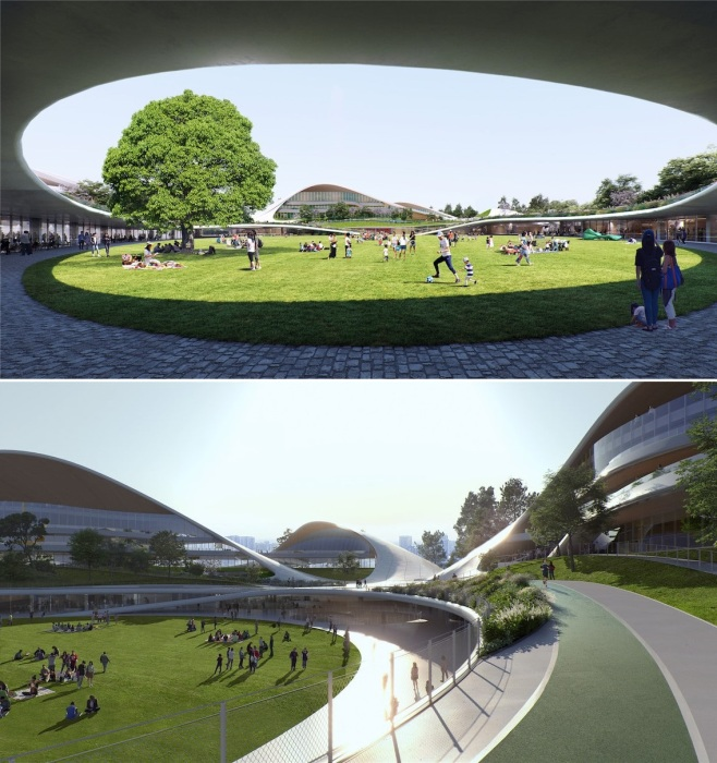 Зеленая зона в центре архитектурного ансамбля будет местом активного отдыха горожан (концепт Jiaxing Civic Center).