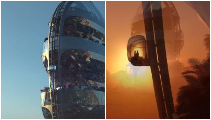 По торцевым сторонам небоскреба Star будут двигаться стеклянные кабины, доставляющие на крышу здания (концепт MAD Architects).