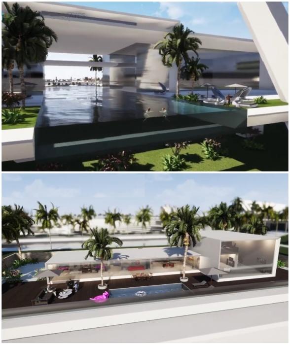 Зеленые зоны и панорамные бассейны предусмотрены как в частных резиденциях, так и на общественных пространствах (концепт Blue Estate).