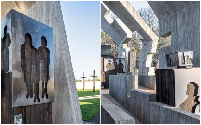 Вырезанные из стендов контуры фигур повествуют о стремительно прерванной жизни обитателей деревни Михнев и других населенных пунктов, уничтоженных нацистами (Mauzoleum Martyrologii Wsi Polskich).