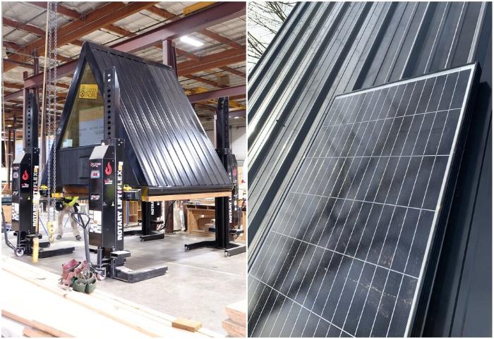 Миниатюрные хижины собираются в цеху компании Bivvi Camp и могут быть укомплектованы солнечными панелями (Bivvi Cabin).