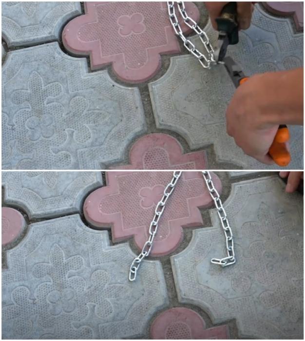 Для создания подвесной основы понадобится две цепи одинакового размера.