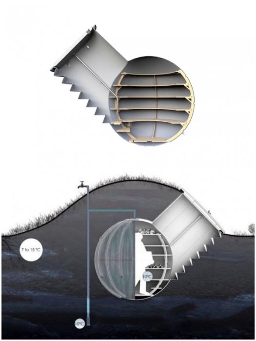 Конструкция автономного подземного холодильника Groundfridge от компании Weltevree.