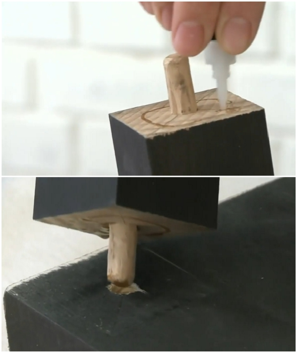 Процесс закрепления двух фигурных ножек к поверхности будущего столика.