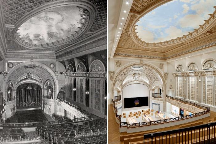 Специалистам удалось сохранить и восстановить величие кинотеатра, построенного в далеком 1927 г. (Apple Tower, Лос-Анджелес).