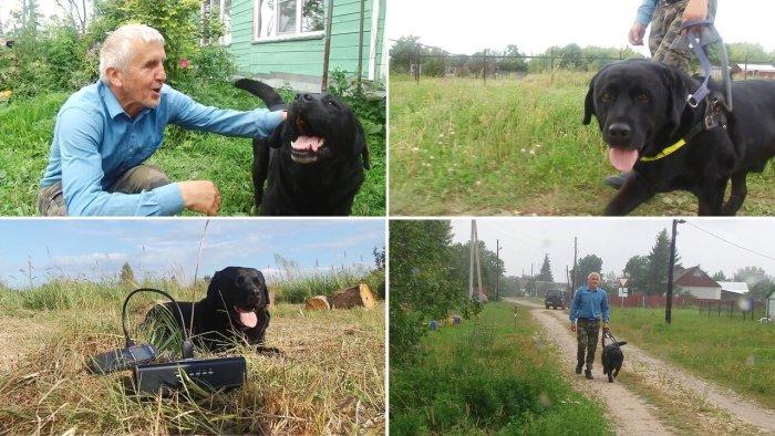 Собака-поводырь уже более 7 лет является его глазами при передвижении и лучшим другом (д. Зарытки, Рязанская обл.). | Фото: fishki.net.