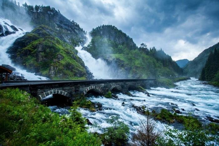 Мост, ведущий через потоки водопада Лотефоссен (Норвегия). | Фото: travelask.ru.