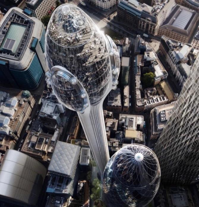 Самый высокий небоскреб Лондона планируют построить возле известного на весь мир «Огурца» (концепт The Tulip, Великобритания). | Фото dezeen.com.