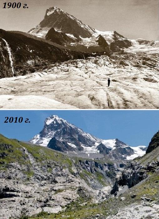 Вид на гору Дент Бланш (Dent Blanche) с глетчера Ferpecle (Швейцарские Альпы, снимки 1900 г. и 2010 г.). | Фото: 4sport.ua.