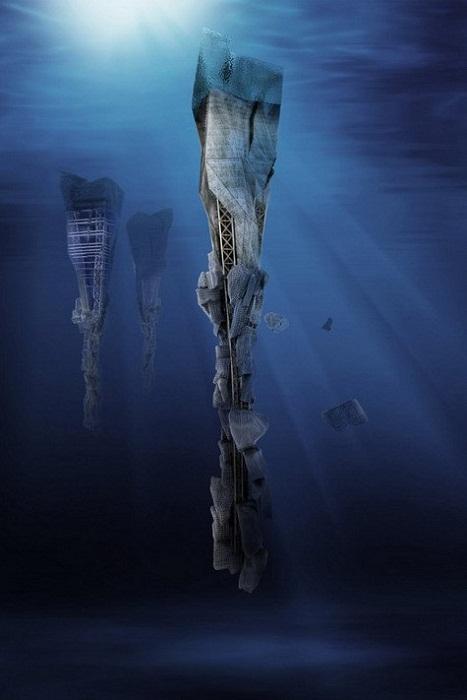 Lady Landfill – подводный небоскреб должен собирать и перерабатывать отходы из Гигантского тихоокеанского мусорного пятна (проект сербских архитекторов). | Фото: mk.ru.