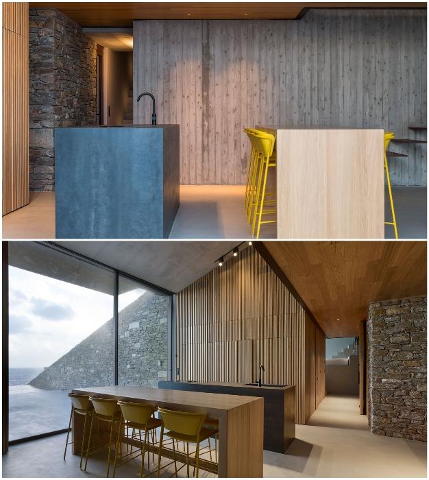 Зона кухни-столовой подземного особняка Ncaved House (о-в Серифос, Греция).
