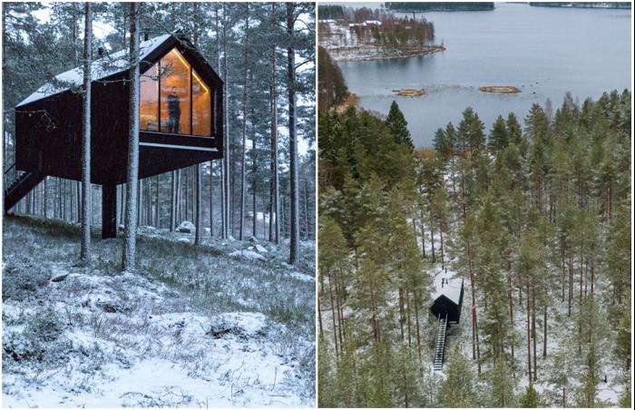 Панорамное окно обращено в сторону горного озера (Niliaitta, Финляндия).
