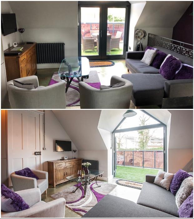 В каждом номере есть собственные гостиные с окнами, выходящими на перрон вокзала (Platform Three at Station House, Malvern Link).