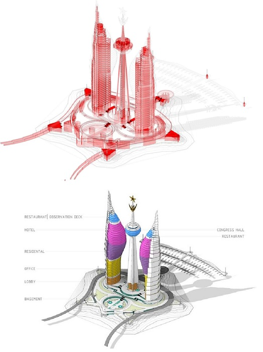 Впечатляющие формы и наполнение трех башен, спроектированных Лексом Выжевским (концепт Djibouti Towers).