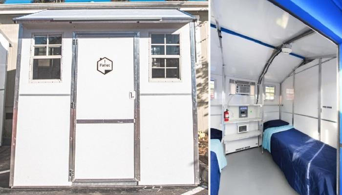 Размер маленького домика модели Pallet-64 составляет 5,95 кв. м, но в него заселяют по 2 человека.