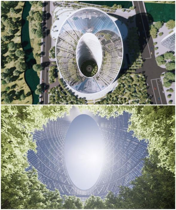 В центре небоскреба расположен внутренний двор, который станет общедоступным местом для отдыха, обучения и общения (концепт O-Tower, BIG).