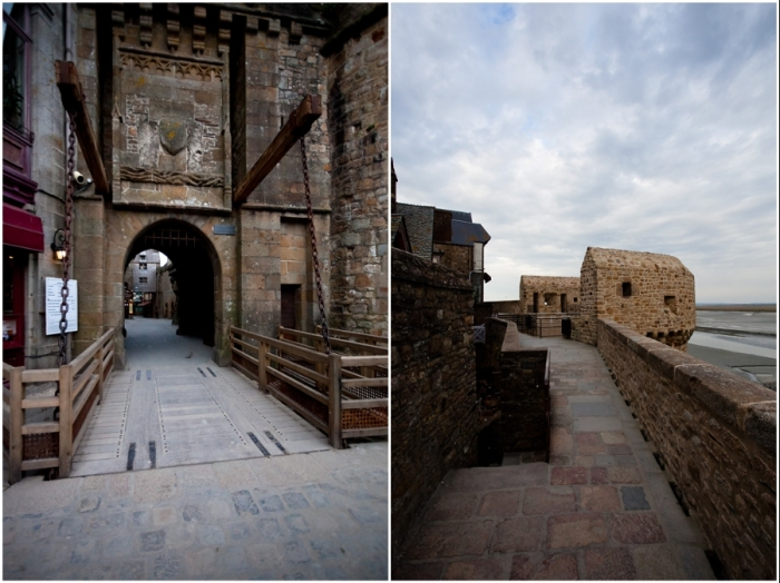 Через главные ворота можно попасть на единственную улочку города, которая и приведет к основной достопримечательности аббатства (Мон-Сен-Мишель, Франция).