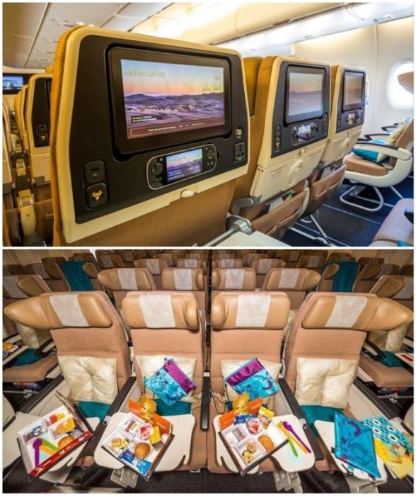 У пассажиров эконом-класса есть возможность приятно провести время перелета (Airbus А-380 Etihad).