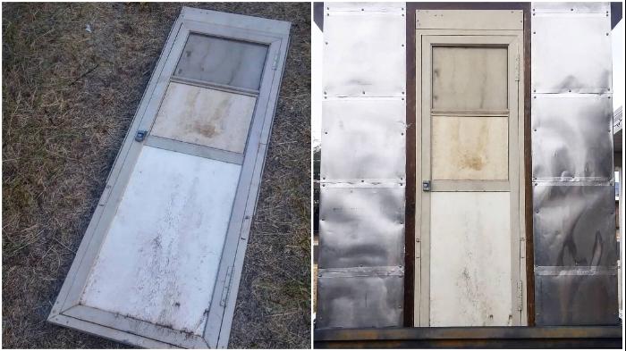 Пригодилась дверь от старого фургона.