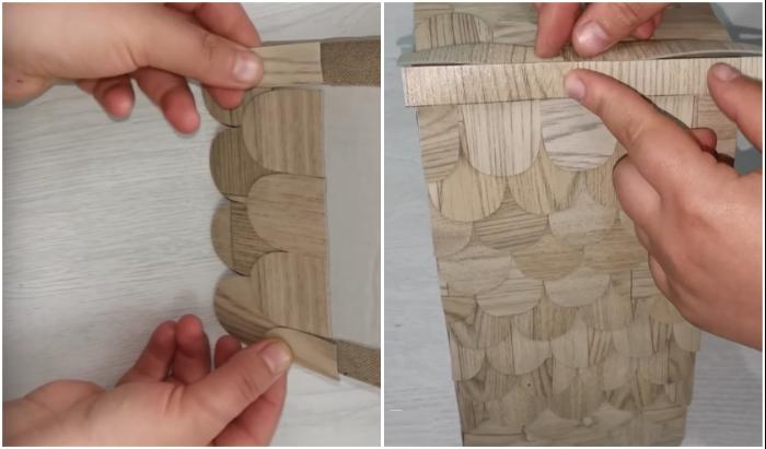 «Черепицу» для крыши можно сделать из кусочков линолеума.