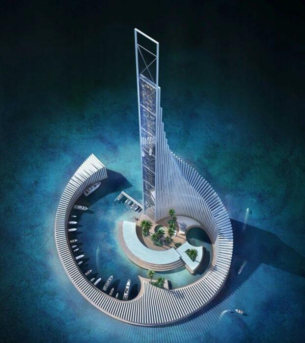 360-модулей, похожих на костяшки домино, составляют основание эффектной высотки (концепт Zanzibar Domino Commercial Tower). | Фото: zanzibarnikwetu.blogspot.com.