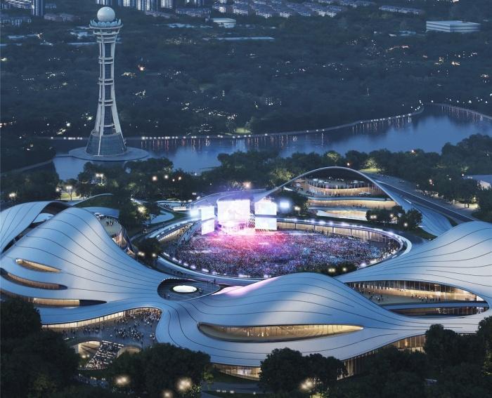 Центральная лужайка может служить сценой для проведения общегородских мероприятий под открытым небом (концепт Jiaxing Civic Center).   Фото: dailyarchitecturenews.com.