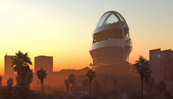 Понадобится 500 млн дол., чтобы футуристический офис-будущего Star украсил горизонт самого звездного района Лос-Анджелеса (концепт MAD Architects). | Фото: archinect.com.