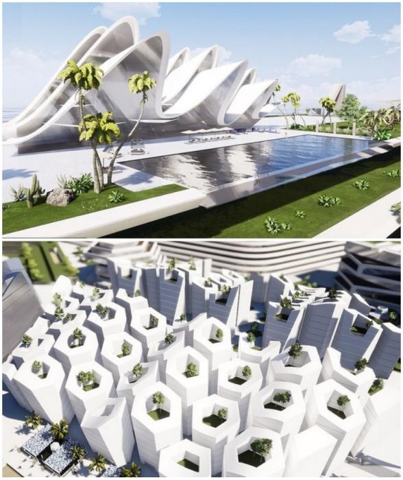 Футуристические архитектурные объекты немыслимых форм украшают верхний ярус острова, на котором будут расположены предприятия, учреждения и общественные зоны (концепт Blue Estate).