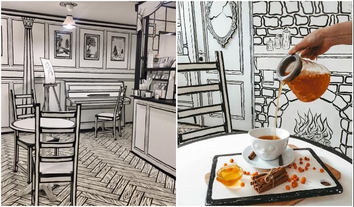 В это сложно поверить, но столы и стулья вполне реальные (Чбкафе, Санкт-Петербург).