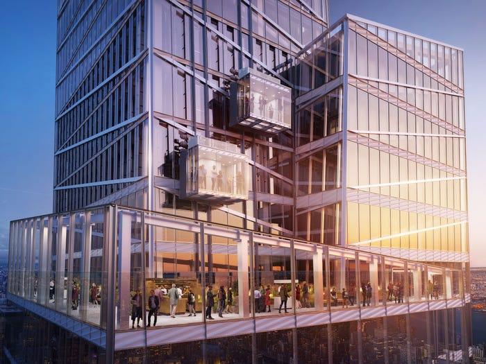 Экстремальные развлечения начинаются уже с прозрачной кабинки лифта (визуализация Summit One Vanderbilt, Манхэттен). | Фото: untappedcities.com.