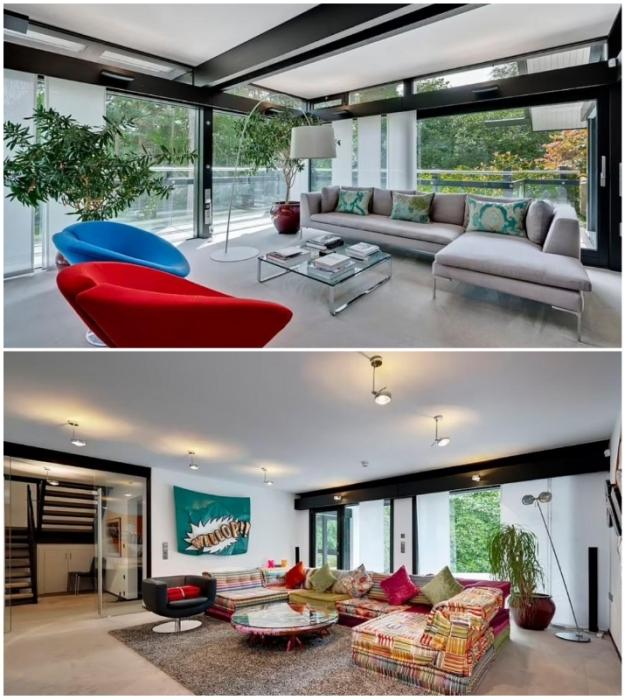 Гостиные на разных уровнях обеспечивают дополнительными местами отдыха и общения (Кобхэм, Великобритания).